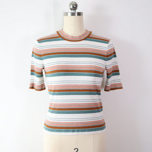 madewell striped ribbed stretch top tee shirt S